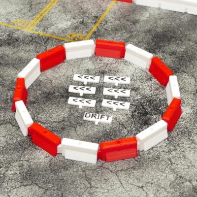 Kreisverkehr links rot/weiss