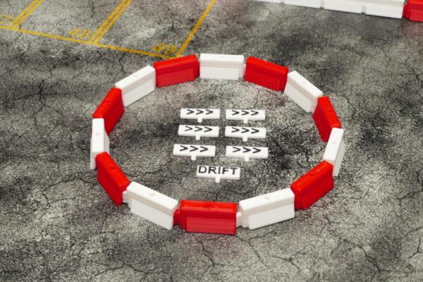 Kreisverkehr rechts rot/weiss