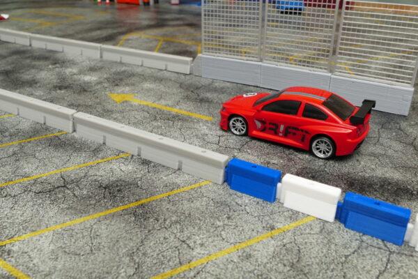 Streckenbegrenzung 10er Set lang Betongrau gesteckt | F4 Drift Shop Schweiz