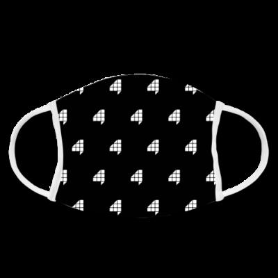 F4 Stoffmaske Schwarz/Weiss 2.0 | FAKTOR VIER Merchandise | Gesichtsmaske